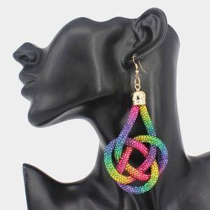 Jewelry - Rainbow Oversized Rhinestone Pave Braided Earrings